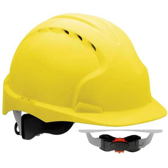 18f1d7deb74d83 Kask Ochronny JSP EVO 3 Z Wentylacją - Regulacja Obwodu Pokrętło 3D - Kolor  Żółty -