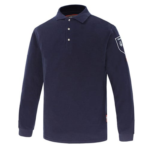Ognioodporna i Antystatyczna Koszulka Polo Phoenix-FR - Kolor Granatowy - EN531 EN1149-3/5 EN 11612 EN11611 IEC 61482-2 ATPV 9.1cal/cm²