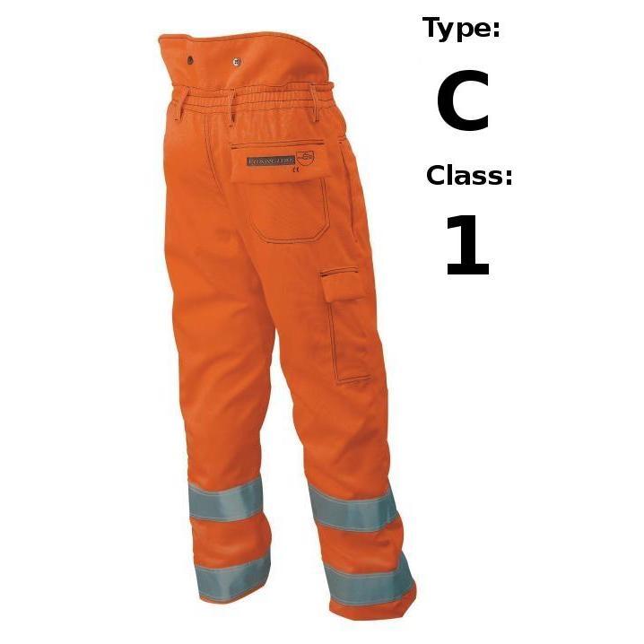 Antyprzecięciowe Ostrzegawcze Spodnie Dla Pilarzy Francital Arbois - Typ C Klasa 1 - EN381-5 EN471 - Kolor Pomarańczowy sklep BHP
