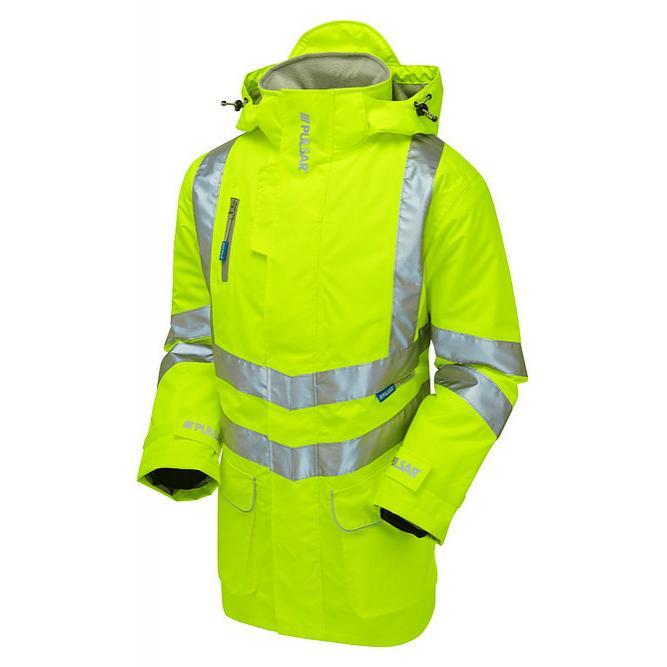Wodoodporny Żółty Ostrzegawczy Płaszcz PULSAR P187 - Ocieplany - 3M™ Scotchlite™ - EN471 Klasa 3 EN343 Klasa 3:1 sklep BHP