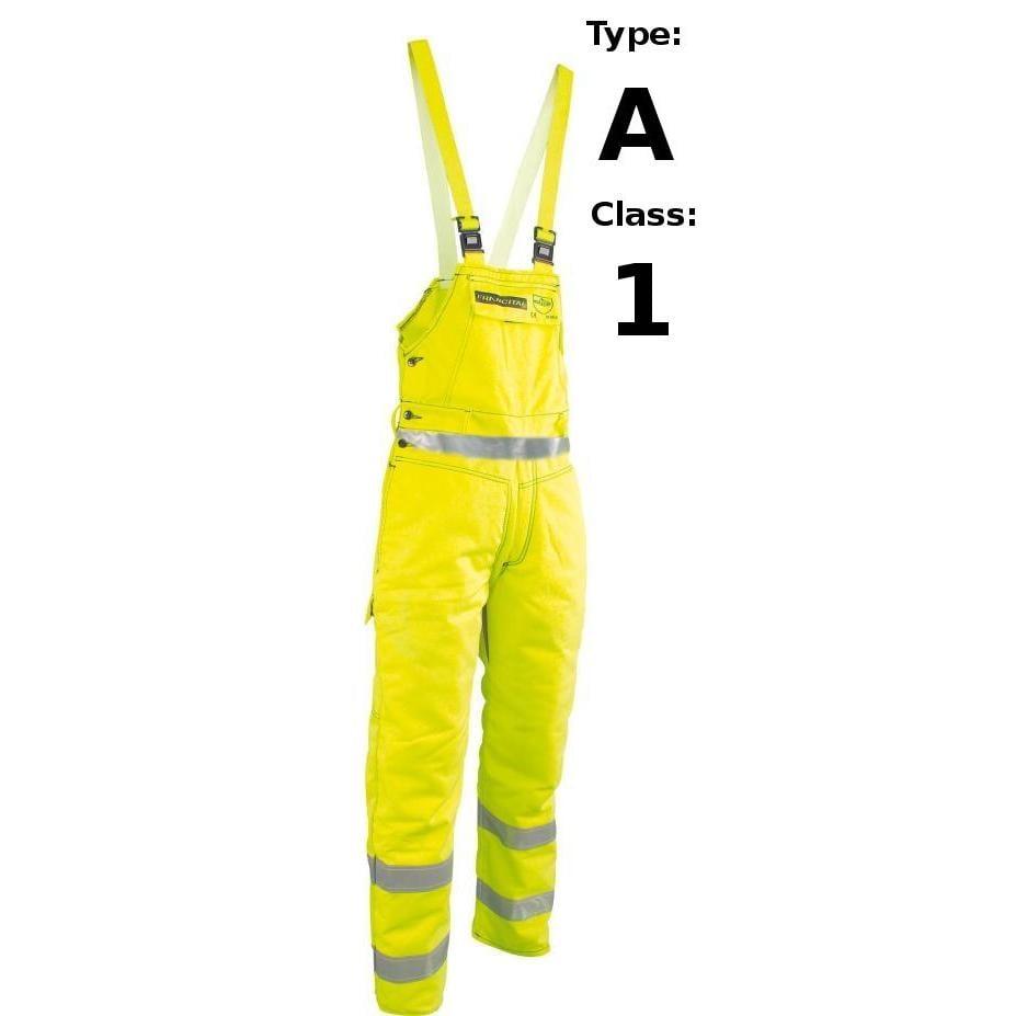 Żółte Ostrzegawcze Ogrodniczki Antyprzecięciowe Francital Opoul - Typ A Klasa 1 - EN381-5 EN471 sklep BHP